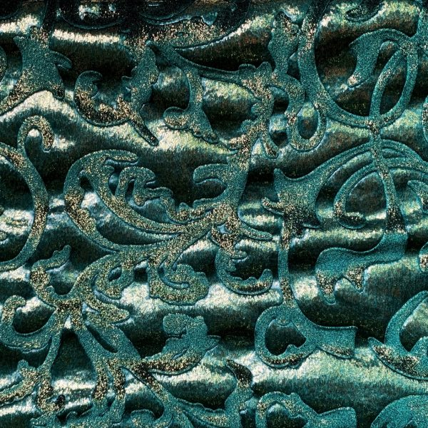 Green Embossed Velvet Fabric By The Yard - Solid Stone Fabrics, Inc. - Online and Wholesale Fabric Supplier