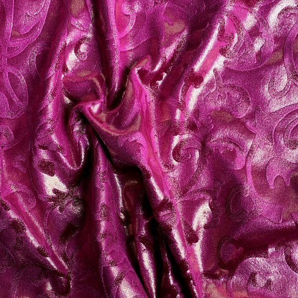 Pink Embossed Velvet Fabric By The Yard - Solid Stone Fabrics, Inc.