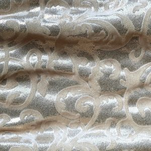 Ivory Embossed Velvet Fabric - Foil Covered Stretch Velvet Fabric By The Yard - Solid Stone Fabrics, Inc.
