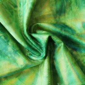 Green Tie Dye Metallic Spandex Fabric