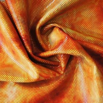 Orange Tie Dye Hologram Fabric