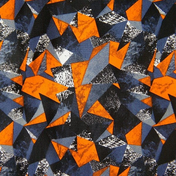 ORANGE GEOMETRIC STRETCH FABRIC
