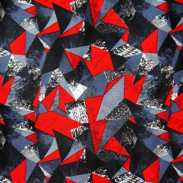 RED GEOMETRIC PRINT FABRIC