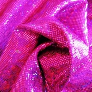 Fuchsia broken glass fabric featuring Fuchsia stretch base fabric topped with Fuchsia shattered glass holographic foil