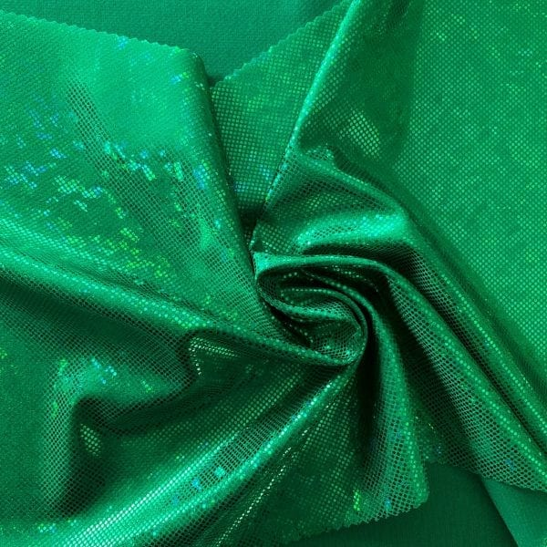 Kelly Green broken glass fabric featuring kelly green stretch base fabric topped with kelly green shattered glass holographic foil, for brilliant shine and sparkle.