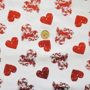Foil Heart Stretch Fabric - Red Foil Hearts on White Base FAbric