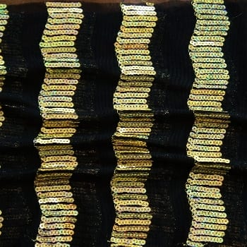 Gold Sequin Mesh Fabric