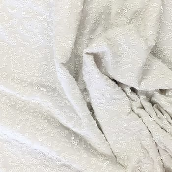 White 3mm Swirl Sequin Fabric