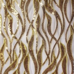 Gold White Sequin Mesh Fabric
