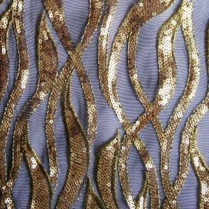 Gold Black Sequin Mesh Fabric