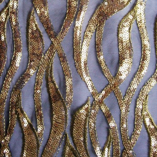 Gold Black Sequin Mesh Fabric