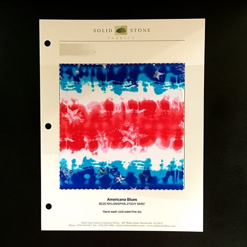 "Patriotic Print Fabric Swatches / Color card features full size ""feeler"" fabric swatches and all available fabric colors on one card for your convenience. Designed to fit inside a three ring binder for easy reference!"