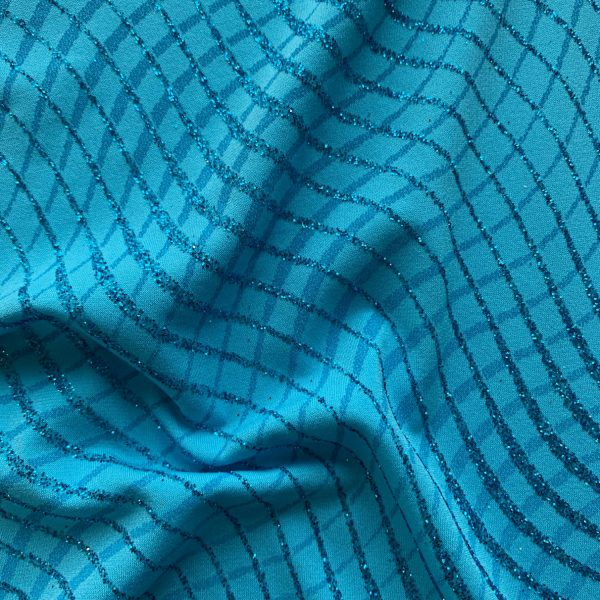 Turquoise Glitter Knit Stretch Fabric