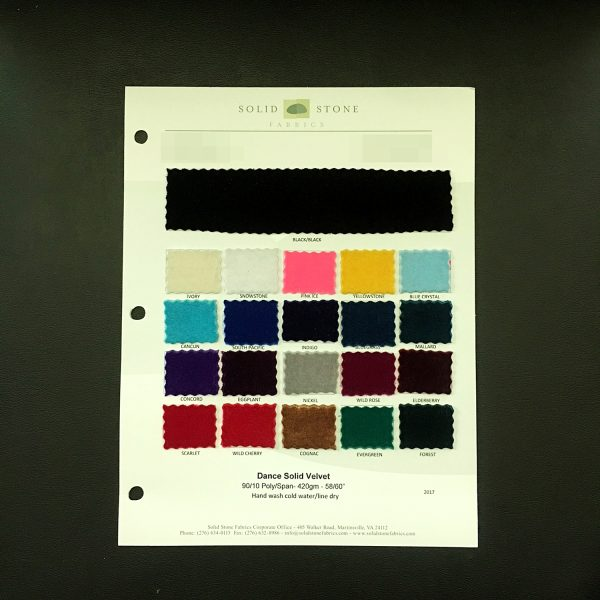 "Solid Velvet Color Card / Swatches features full size ""feeler"" fabric swatches and all available fabric colors on one card for your convenience. - SOLID STONE FABRICS, INC."