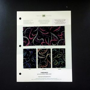"Glitter Velvet Fabric Swatches / Color Card features full size ""feeler"" fabric swatches and all available fabric colors on one card for your convenience. Designed to fit inside a three ring binder for easy reference!"