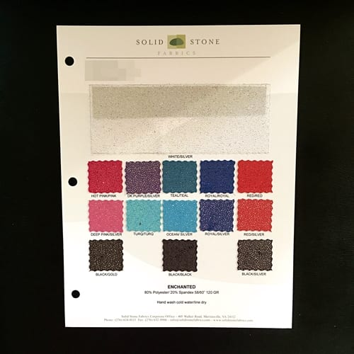 ENCHANTED STRETCH GLITTER MESH FABRIC SWATCH COLOR CARD