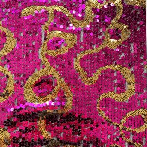 Fuchsia Ribbon Sequin Fabric