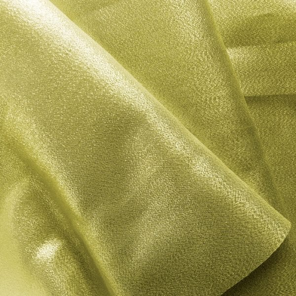 Gold metallic lame fabric featuring a polyester metallic blend for subtle shine and sparkle.