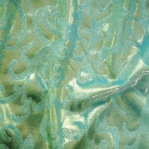 Blue Embossed Velvet Fabric