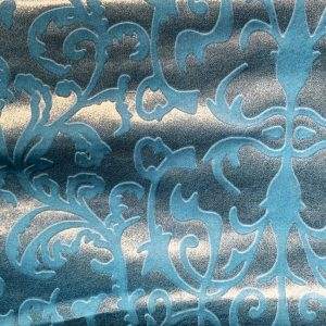 Blue Embossed Velvet Fabric - VELVET FABRIC BY THE YARD OR ROLL - SOLID STONE FABRICS, INC.