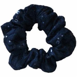 Black Sequin Lace Scrunchie