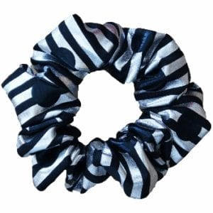 Silver Black Metallic Hair Scrunchie