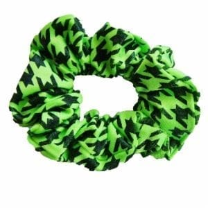 Lime Green Houndstooth Scrunchie