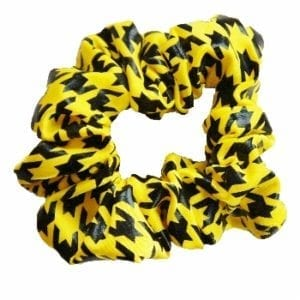 Yellow Houndstooth Hair Scrunchie