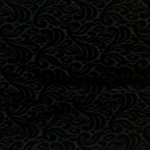 Black Velvet Burnout fabric features an elegant baroque style pattern from richly colored, plush stretch velvet.