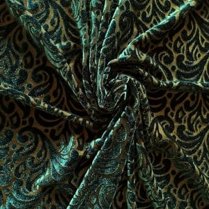 Dark Green Velvet Burnout Fabric