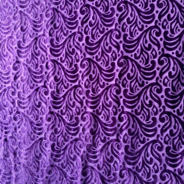 Purple Burnout Velvet Fabric