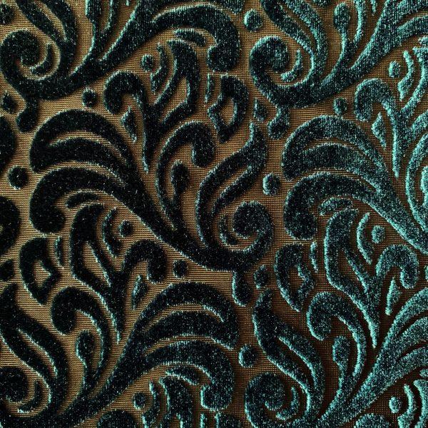 Dark Green Velvet Burnout Fabric