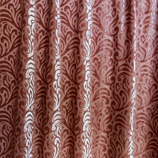 Pink Velvet Burnout Fabric
