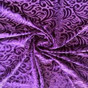 Purple Burnout Velvet Fabric - Best Online Fabric Shop - Wholesale Fabrics By The Yard