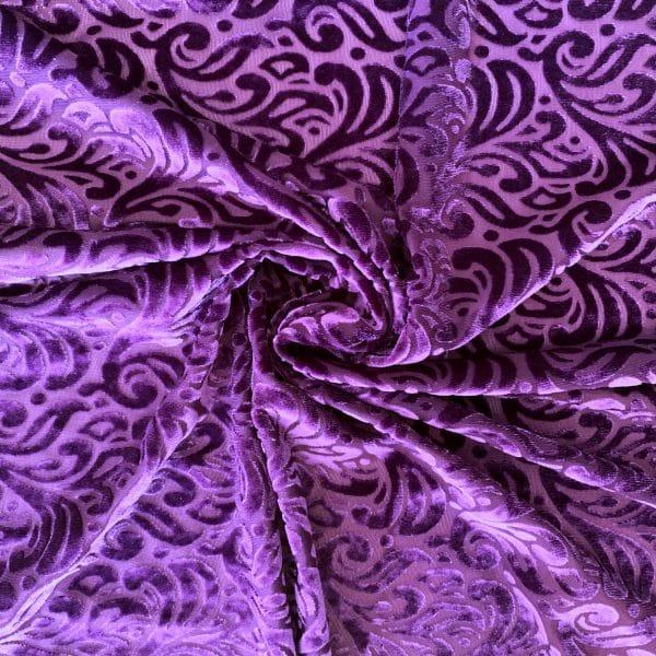 Purple Burnout Velvet Fabric - Best Online Fabric Shop - Wholesale Fabrics By The Yard