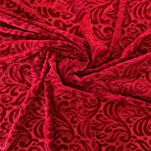 Red Velvet Burnout Fabric