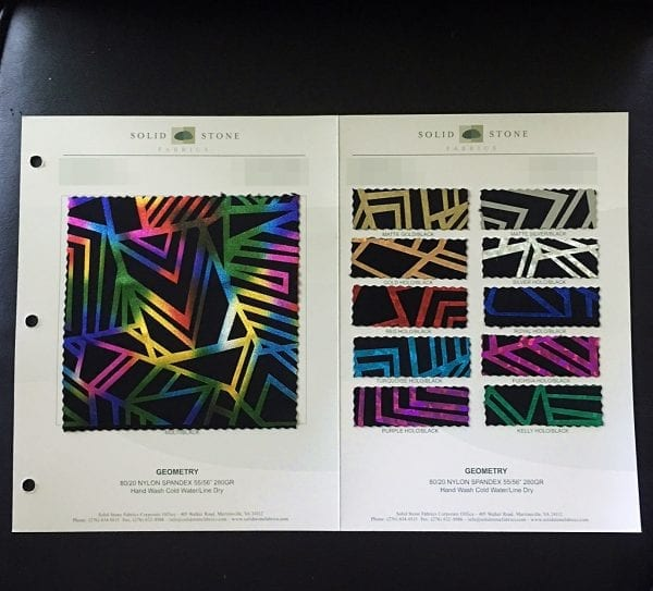 Geometric Hologram Fabric Swatches / Color Card - SOLID STONE FABRICS, INC.