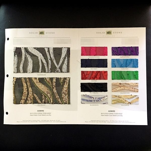 """Admire Sequin Mesh Fabric Swatches / Color card features full size """"feeler"""" fabric swatches and all available fabric colors on one card for your convenience."""