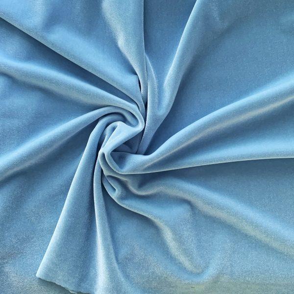 Solid Light Blue Velvet Fabric - Stretch Velvet By The Yard - Solid Stone Fabrics, inc.
