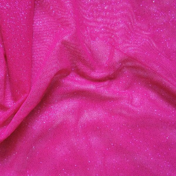 Pink Glitter Mesh fabric features all over glitter on 2-way stretch polyester mesh making it ideal for both tight fitting and draped garments.
