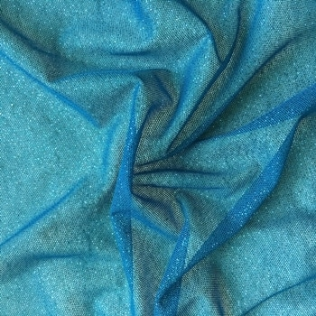Teal Glitter Mesh fabric features all over teal glitter on 2-way stretch teal polyester mesh making it ideal for both tight fitting and draped garments.