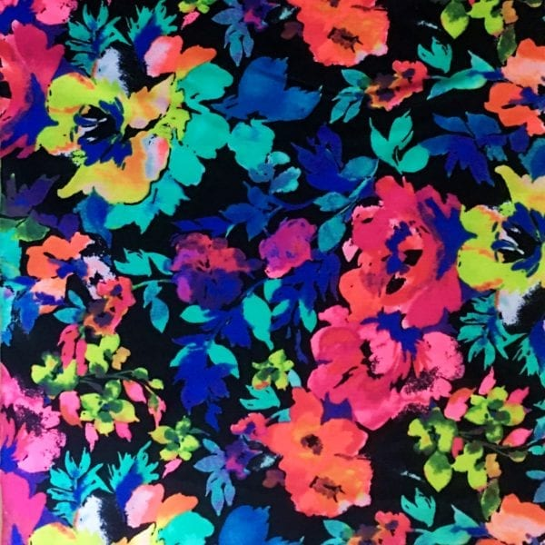 Floral print fabric by the yard. Printed stretch fabric by the yard. Printed spandex fabric by the yard. Stretch printed spandex fabric sold online by the yard. Many styles and colors, all available at no minimum order. Printed spandex fabric sold by the yard or roll. Perfect for dance, swim, cheer, bows, gymnastics, figure skating, costume, cosplay, apparel and more. Fabric sold by the yard or roll at no minimum.