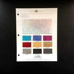 "Mystique Velvet Fabric Swatches / Color Card features full size ""feeler"" fabric swatches and all available fabric colors on one card for your convenience. - Solid Stone Fabrics, Inc."