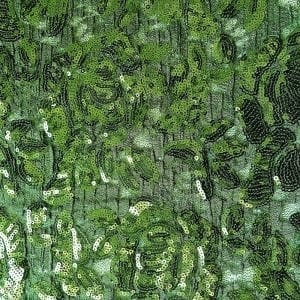 Olive Green Embroidered Floral Sequin Fabric