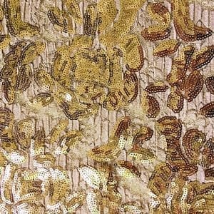 Champagne Embroidered Floral Sequin Fabric