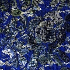 Navy Embroidered Floral Sequin Fabric