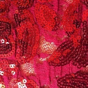 Red Embroidered Floral Sequin Fabric