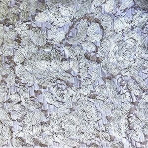 White Embroidered Floral Sequin Fabric