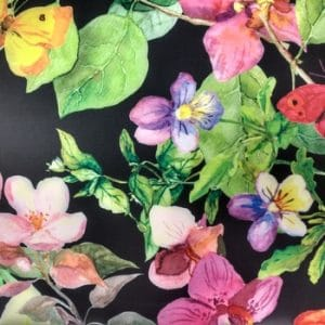 Black Floral Stretch Fabric
