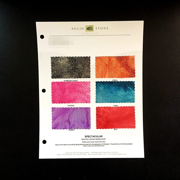 "Glitter Tie Dye Fabric Swatches / Color card features full size ""feeler"" fabric swatches and all available fabric colors on one card for your convenience. Designed to fit inside a three ring binder for easy reference!"